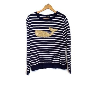 Talbot's Glitter Whale Preppy Nautical Sweater
